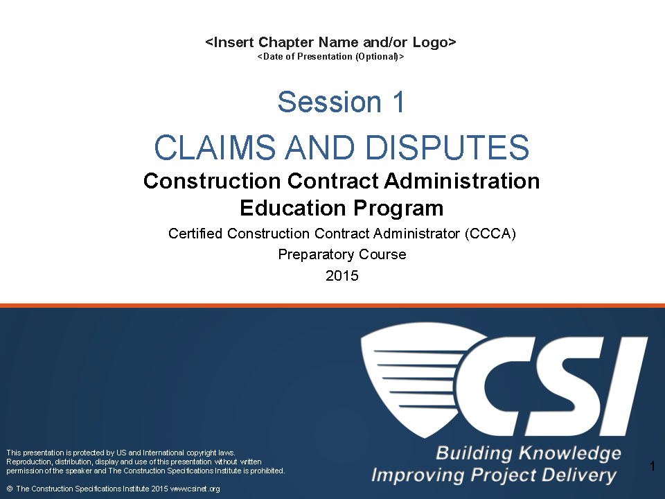 Construction Contract Administration Education Program (CCAEP)